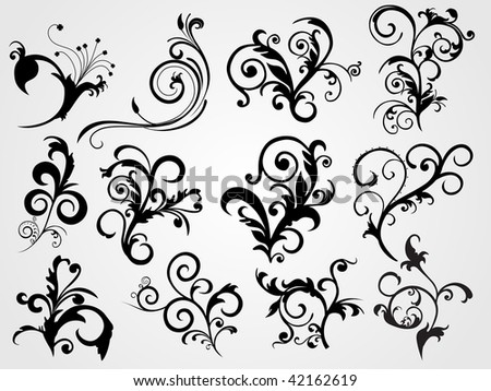 set of tattoos with abstract background
