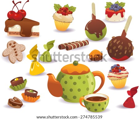 Set of tea, cakes and other sweet food, isolated on white background. - stock vector