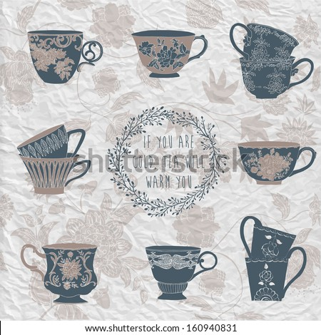 Set of tea cups - stock vector