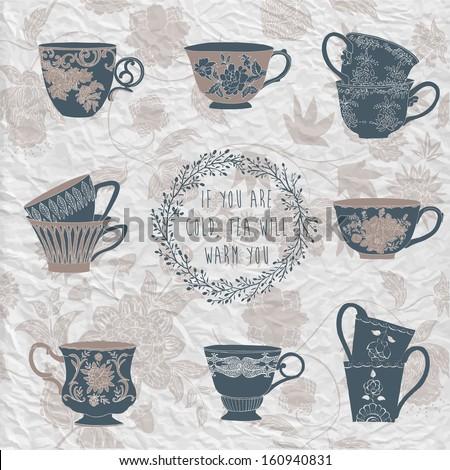 Set of tea cups - stock vector