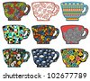 Set of tea cups with cool patterns. Vector illustration. - stock photo