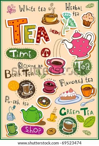 Set of tea design elements and inscriptions - stock vector