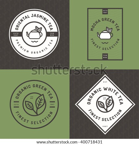 Set of tea logo, badges, banners, emblem for tea shop in linear style with  leaf seamless pattern background. Organic tea package design. Vector illustration. - stock vector