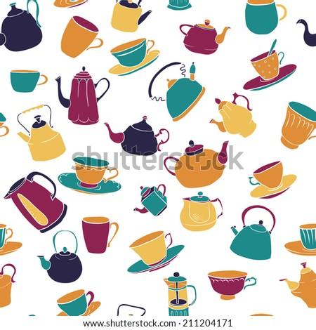 set of teapots, sketch drawing teapots, vector illustration - stock vector