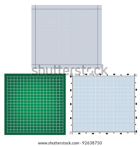 set of technical backgrounds. vector graphing paper for engineering - stock vector