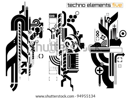 Set of techno compositions for print multimedia and web - stock vector