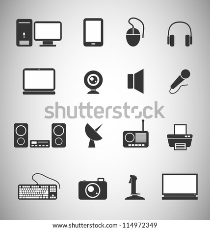 set of 16 Technology icons - stock vector
