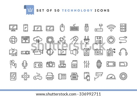 Set of 50 technology icons, thin line style, vector illustration  - stock vector