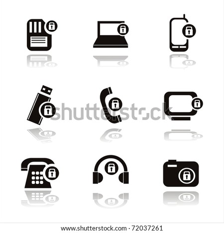 set of 9 technology with locks icons - stock vector