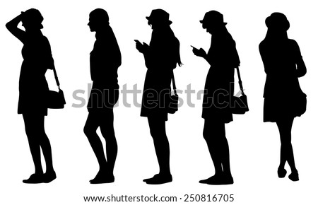 set of teenage girl silhouettes - stock vector