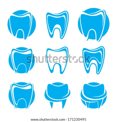 Set of teeth vector icons - stock vector