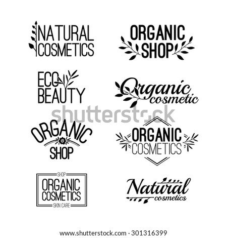 Set of template for design logos, stamps, stickers for organic and natural cosmetics. Floral elements and text. Black color. Vector. - stock vector