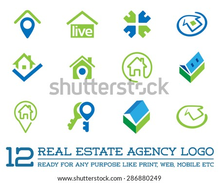 Set of Template logo for real estate agency or cottage town elite class. Real estate logo. - stock vector