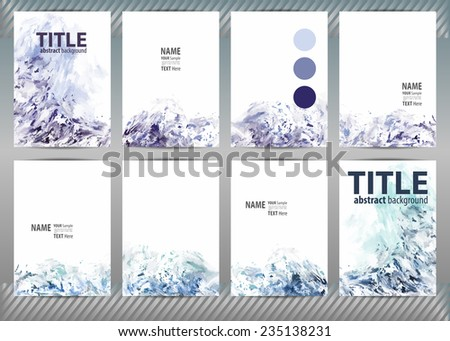 Set of templates brochure, cover and sheets. Abstract painted background. - stock vector