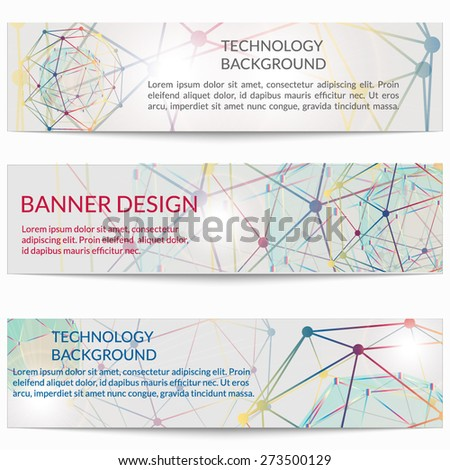 Set of templates business scientific banners. Modern stylish graphics.  Vector illustration. - stock vector