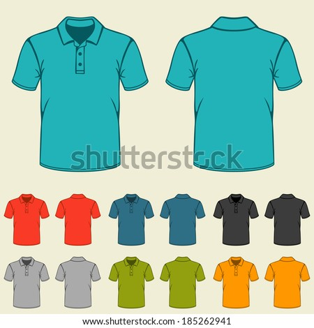 Set of templates colored polo shirts for men. - stock vector