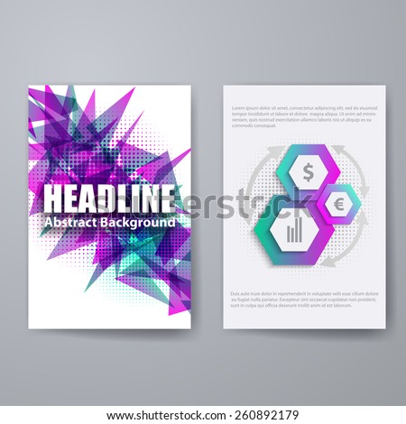 Set of templates for brochure, poster, placard, banner, cover design with business infographic in geometric graphic style. Abstract modern back and front flyer backgrounds. Vector illustration EPS10 - stock vector