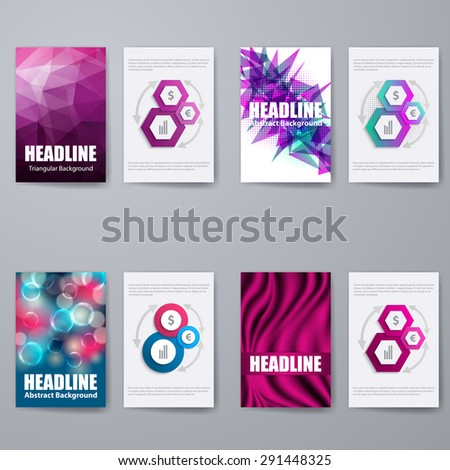 Set of templates for brochure, poster, placard, banner, cover design with business infographic in modern graphic style. Abstract editable back and front flyer backgrounds. Vector illustration EPS10 - stock vector