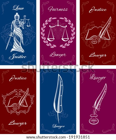 set of templates for business cards in law - stock vector