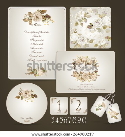 Set of templates for celebration, wedding. Beige roses. Invitation card, letterhead, numbering for tables and different elements. Watercolor flowers on  light cream background. Vintage design.  - stock vector