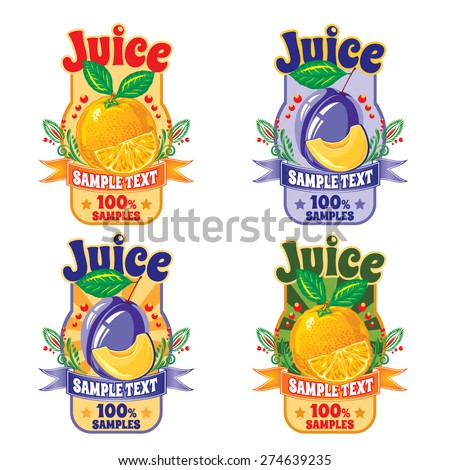 set of templates for labels of juice from the fruit of orange and plum - stock vector
