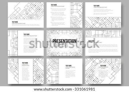 Set of 9 templates for presentation slides. Abstract vector backgrounds. Technical construction with connected lines and dots. - stock vector