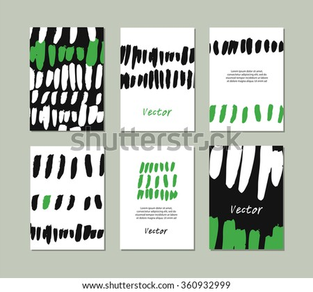 Set of templates with hand drawn textures made with ink strokes. Collection with vector grunge banners - stock vector