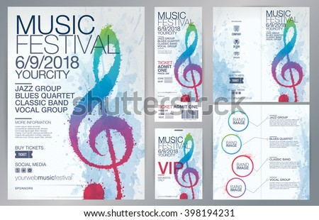 Set of templates with poster, brochure, ticket, program event and VIP. Treble clef illustration with brush strokes and colors. Texture watercolor effect. Vector file with CMYK colors - stock vector
