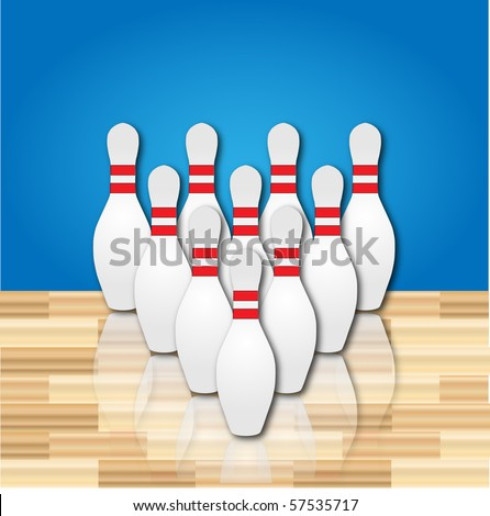 Set of ten bowling pins on a wood floor - stock vector