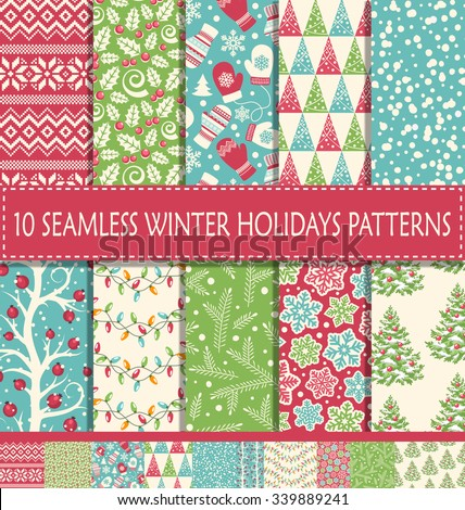 Set of 10 Ten Seamless Bright Fun Christmas Winter Holidays Patterns - stock vector