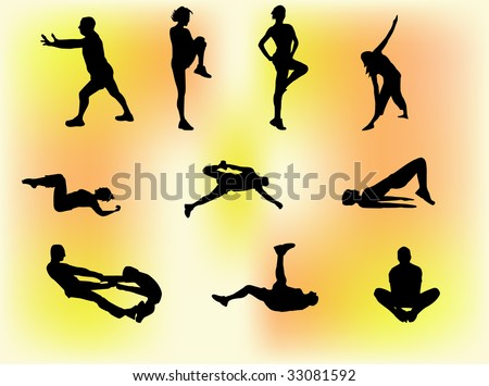 Set of ten silhouettes of people doing gym exercises, stretching etc. - stock vector