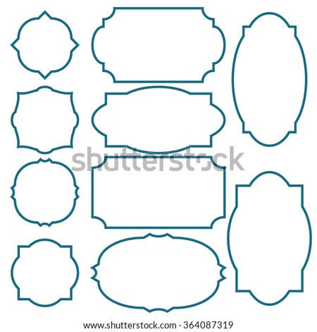 Set of ten simple blue thick frames