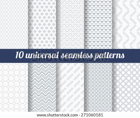 Set of ten subtle seamless patterns. Classic monochrome textures. Gray colors. Vector illustration. - stock vector