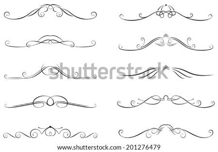 set of ten swirled decorations - stock vector