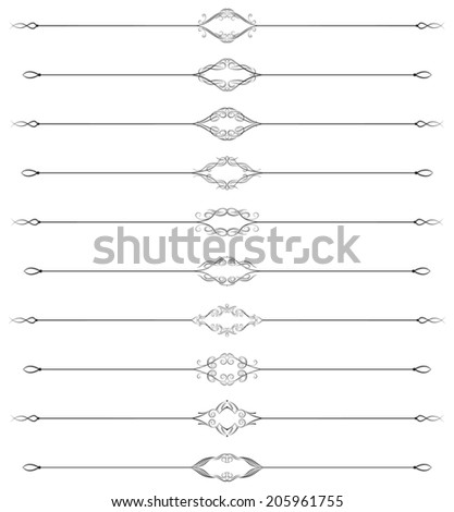Set of ten swirled page rules - stock vector