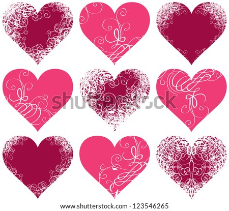 set of ten symbols of hearts with floral ornament - stock vector