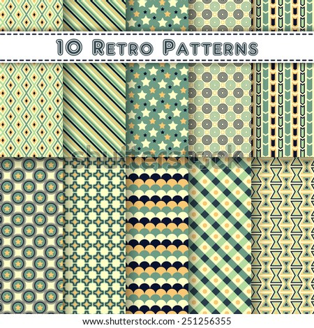 Set of ten vintage vector seamless patterns. Endless retro texture for web design, printing onto fabric, paper or scrapbooking. Nostalgia wrapping, card, frame or border template. Fashion elements. - stock vector