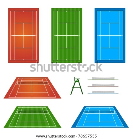 Set of Tennis Courts 1 - stock vector