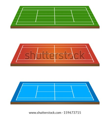 Set of Tennis Courts 3D Perspective - stock vector
