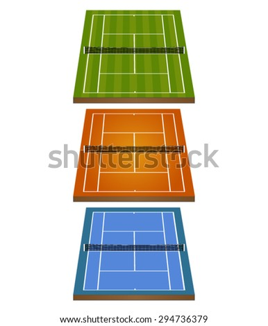 Set of Tennis Courts 3D with Nets 2 - stock vector