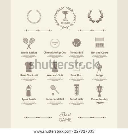 Set of tennis icons. Sports objects. Info graphics set. Simple elements and symbols. Icons for your design. In vintage style. - stock vector