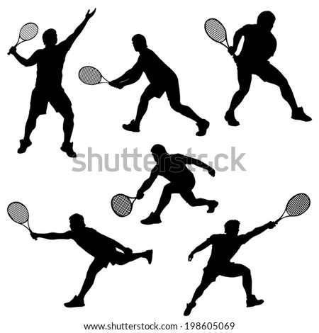 set of tennis player in different poses silhouette isolated on white background
