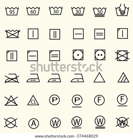 Set of textile care sign, laundry care icons, thin line design, vector - stock vector