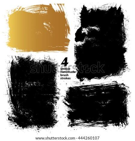 set textured dry brush strokes black stock vector royalty free