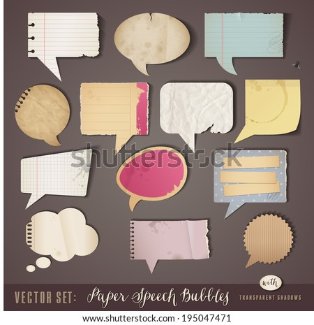 set of textured paper speech bubbles with transparent shadows (work on all sorts of backgrounds) - stock vector
