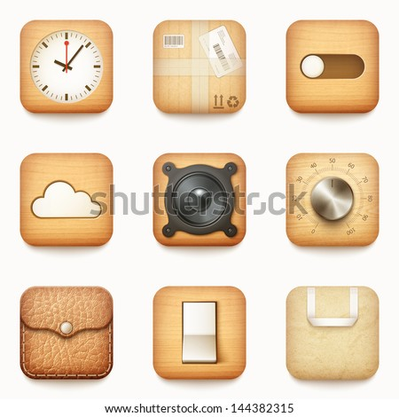 set of textured wooden paper and leather app icons on rounded corner square isolated eps10 vector illustration - stock vector