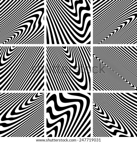 Set of textures in zebra pattern design. Vector art. - stock vector