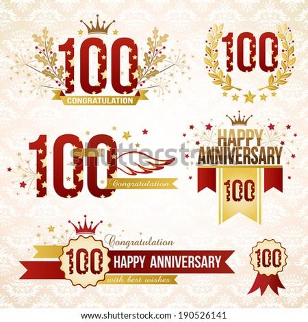 Set of 100th anniversary design elements. - stock vector