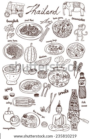 Set of Thai food and icons doodles, vector - stock vector