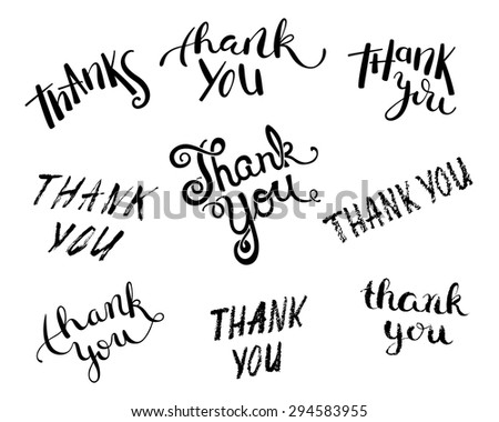 Set of Thank you handmade lettering, vector illustration - stock vector
